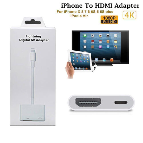 For iP hone6 7 8 Plus X XS XR Ipad Lightning To HDMI Adapter Cable Digital AV TV