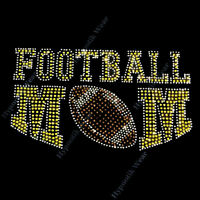 Rhinestone Transfer  Football Mom  Iron On, Hotfix, Pick Your Team Color
