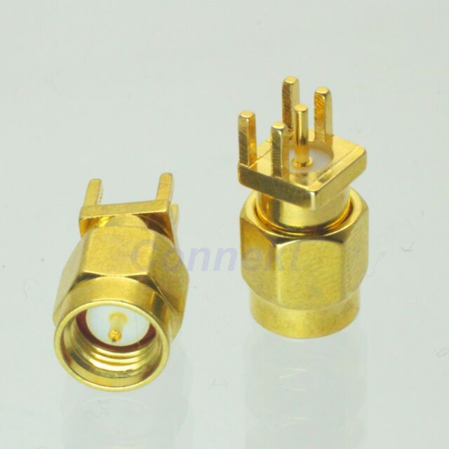 10pcs SMA male plug solder for PCB clip edge mount RF connector