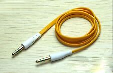 Yellow Flat 3.5mm Auxillary Aux Audio Headphone Cable Cord Male-Male- 1 Metre
