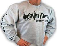 Bodybuilding Clothing Sweatshirt Workout Top Grey Iron & Pain Logo D-25