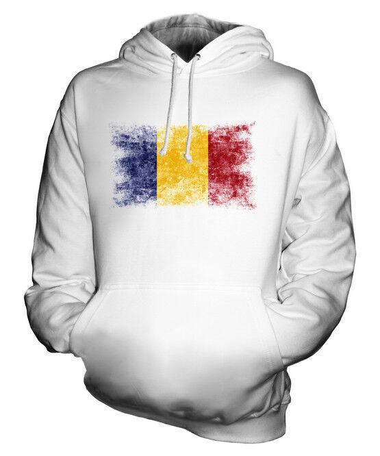 ROMANIA DISTRESSED FLAG UNISEX HOODIE TOP ROMANIA FOOTBALL ROMANIAN GIFT