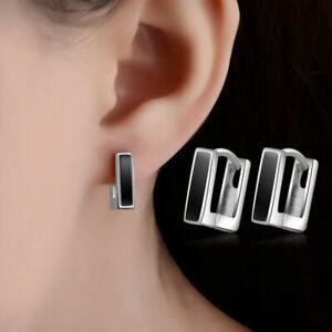 Solid-925-Silver-Square-Earrings-Hoop-Huggie-Style-Women-Fashion-Jewelry