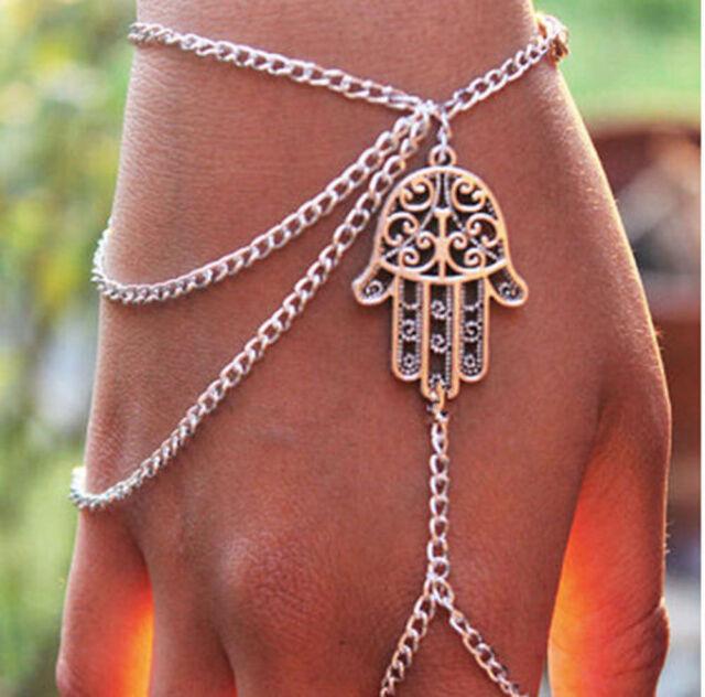 Men Women Asymmetric Hamsa Fatima Bracelet Finger Ring Slave Chain Hand Harness