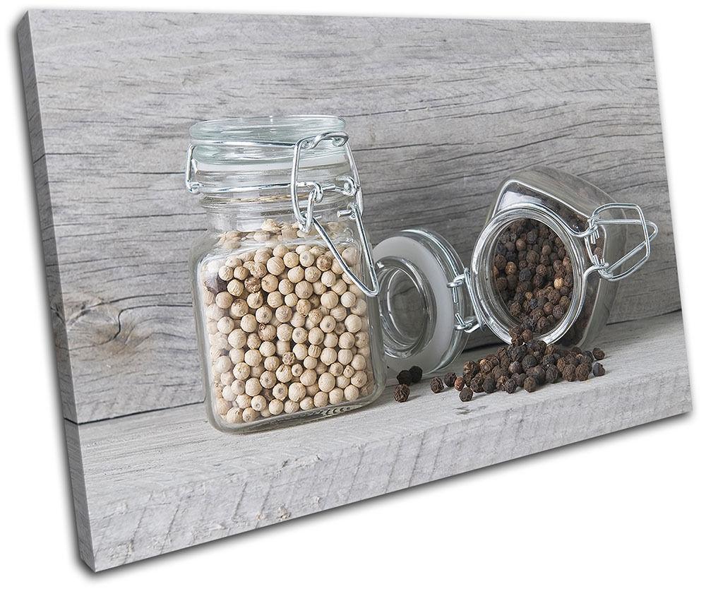 Spices Jars Food Kitchen SINGLE TELA parete arte foto stampa
