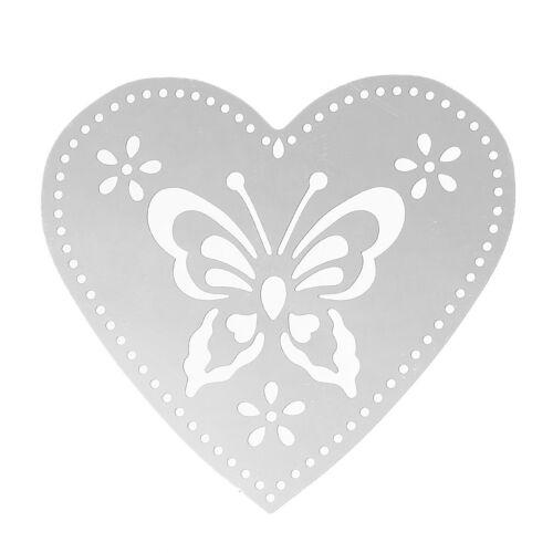 2 x staiinless Filigrane en Acier papillon pendentif en forme de cœur 54x50mm