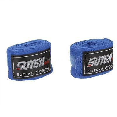 2pcs/roll 2.5M Cotton Sports Strap Boxing Sanda MMA Bandage Hand Wraps Blue W45O