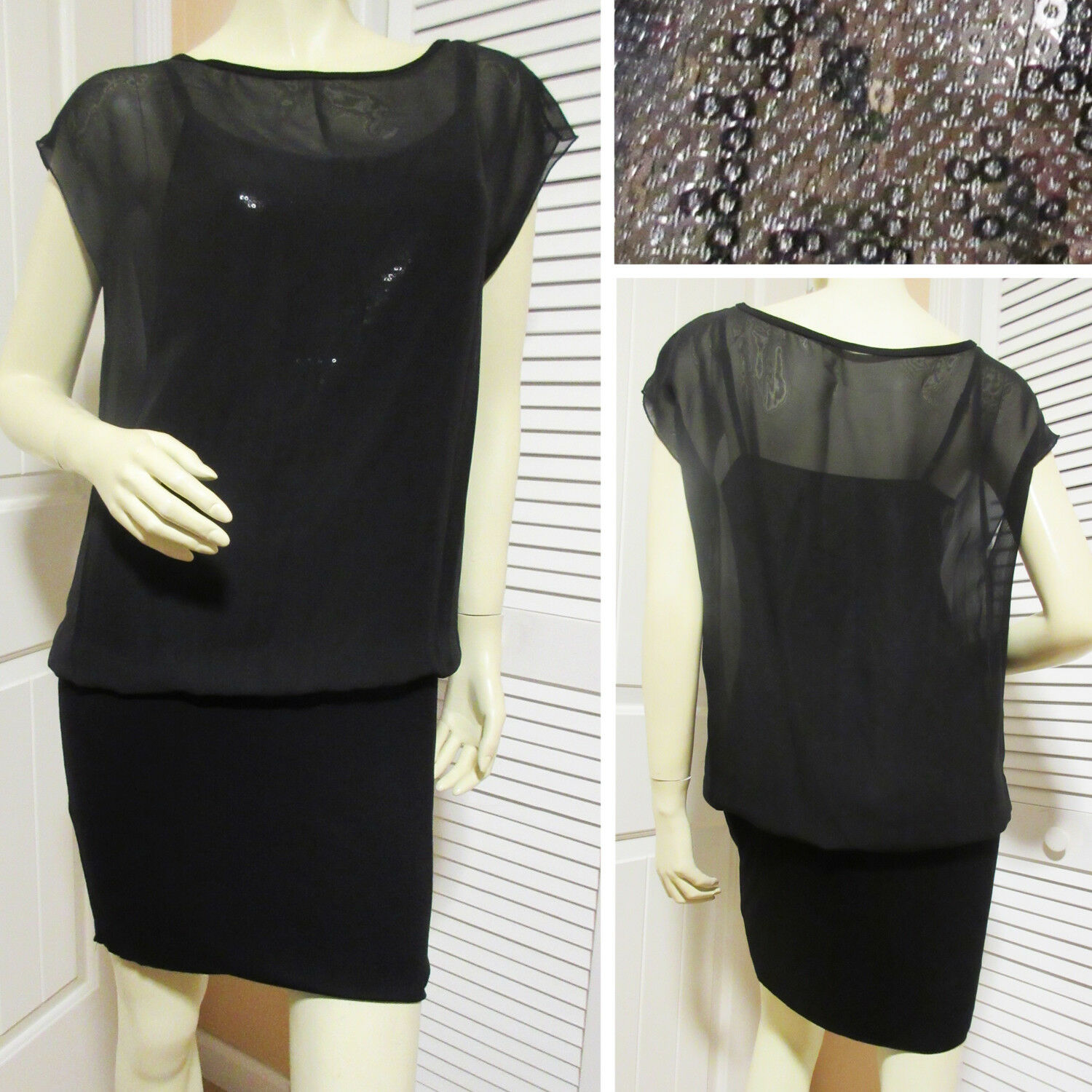ALI & JAY New damen schwarz Blouson Sequin Dress Sheer Overlay Pencil Skirt