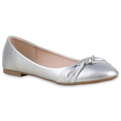 Damen Abiball Ballerinas Strass Metallic Flats Slipper 814860 Hochzeit Schuhe
