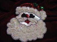 Christmas Santa Sequin Beaded Applique 0793-k