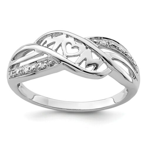 Sterling Silver .01 CT Diamond Mom Word Ring 2.21 gr Size 6 to 8