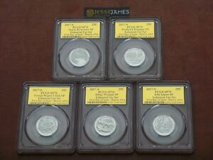 2017-S-5-COIN-QUARTER-DOLLAR-ENHANCED-SET-PCGS-SP70-FIRST-DAY-ISSUE-GOLD-FOIL