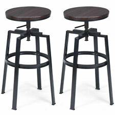 Set of 2 Vintage Bar Stool Adjustable Wood Metal Design Pub Chairs Industrial
