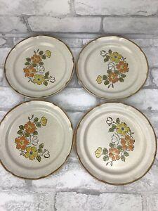 """Vintage 1970'S Hearthside Stoneware Japan Spring Garden Set of 4 7.5"""" Plates"""