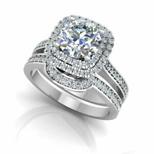 1.42 Ct Round Moissanite Engagement Band Set Real 18K White Gold Rings Size 8 9