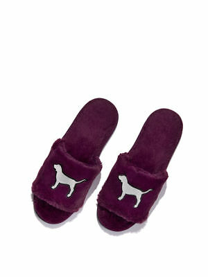Victoria/'s Secret PINK Slippers Cozy Fuzzy Burgundy Dog Logo Great Holiday Gift