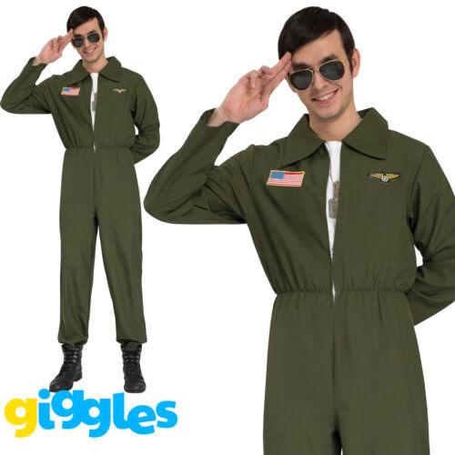 Mens Aviator Costume Figther Gun Flight Suit Top Uniform 80s Fancy Dresss Outfit