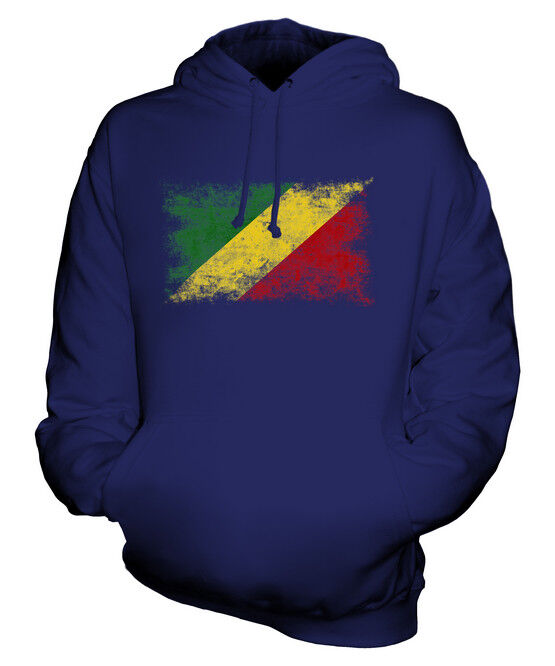 CONGO DISTRESSED FLAG UNISEX HOODIE TOP CONGOLESE  FOOTBALL JERSEY GIFT