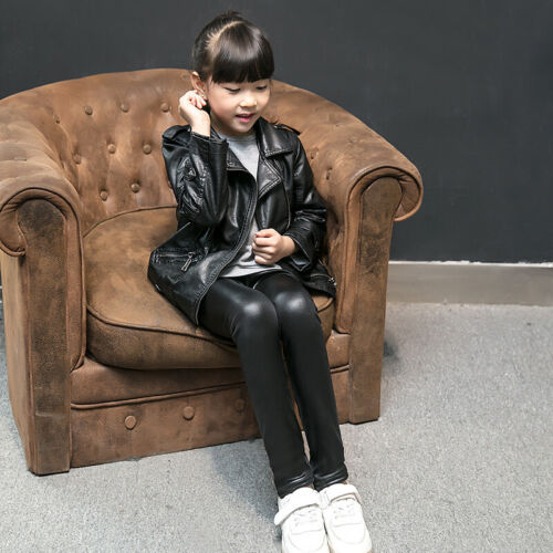 SALE Kids Girls Toddlers Faux Leather Elastic Fleece Lined Slim Trousers Pants