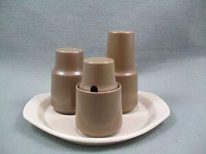 Poole-Twintone-Mushroom-amp-Sepia-Cruet-Set-on-Stand