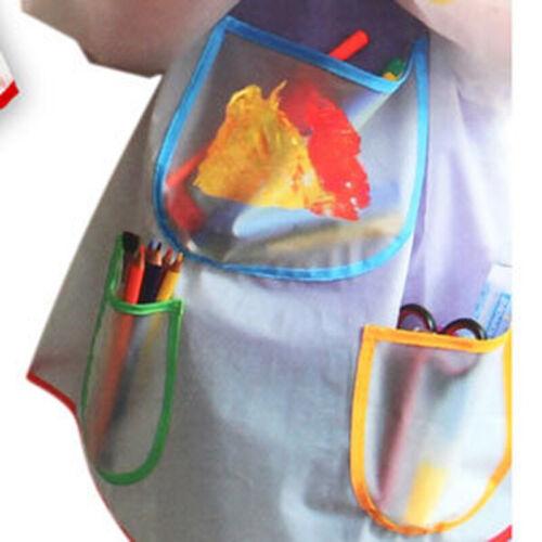 Enfants Tabliers de Peintures Blouse Étanche Manche Longue 3 Poche Spacieuse