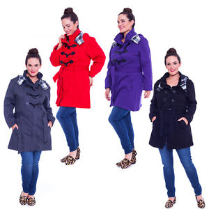 New Womens Jacket Ladies Coat Duffle Toggle Warm Plus Size Military Nouvelle BBW