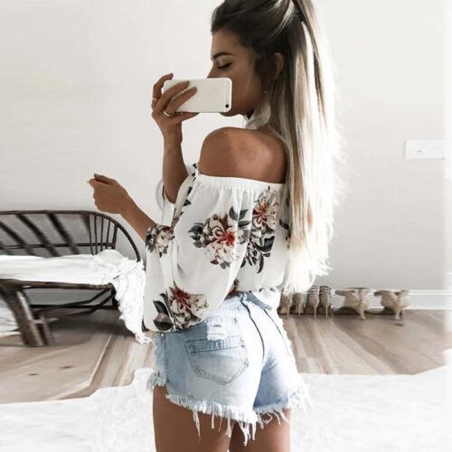 Damen Blumen Langarm Bluse Crop Top Sommer Carmen Off Shoulder Shirt Oberteil 42