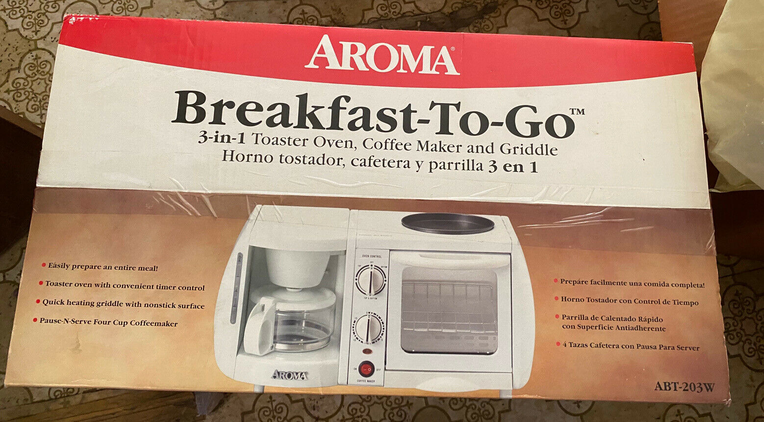 3-in-1 bisque breakfast station toaster ovennostalgia griddle coffee maker