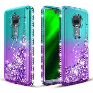 Teal Purple For Motorola Moto G7 Diamond Case Liquid Glitter Quiksand Cover Ebay
