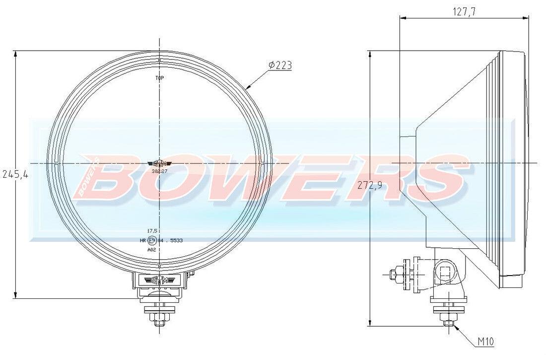 Sim 3227 12v 24v 9 Inch Round Spotlight Spotlamp Led Angel Eye Iveco Tector Wiring Diagram Sidelight Ebay