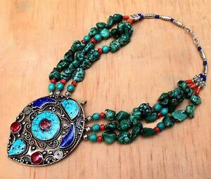 Tibetan-Bib-Necklace-Turquoise-Red-Coral-Pendant-Green-Bead-Bohemian-Boho-Ethnic