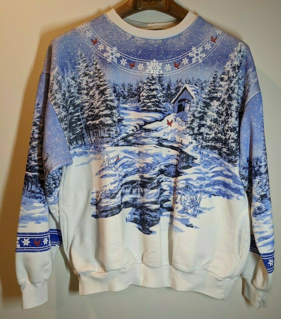 Vintage Art Unlimited Winter Wonderland All Over Print Sweatshirt Size X-Large