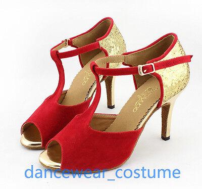 Frauen Lateinschuhe Ballsaal Tango Latein Salsa Tanzschuhe Stöckel Sandalette 4F