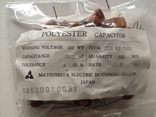 1500pf 1.5nf 0.0015uF 400V Matsushita Polyester Audio Capacitors Made in Japan