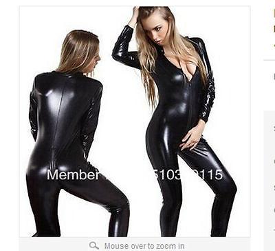 Black Metallic Lycra spandex zentai costume catsuit Open Mouth And Eyes S-XXL