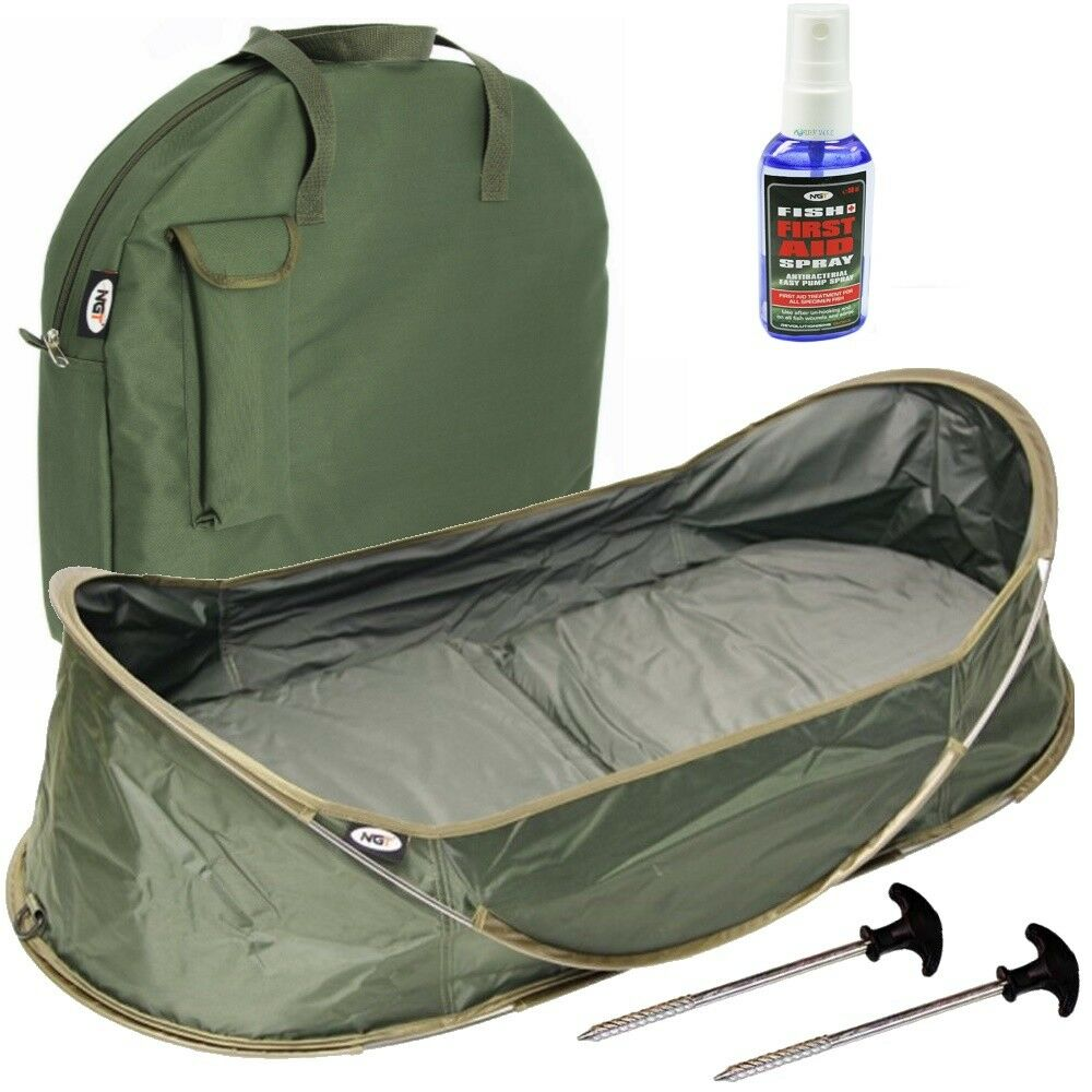NGT Carp Cradle Pop Up Unhooking Mat with Carry Case and Pegs With Fish Aid
