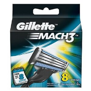 Gillette-Mach-3-Mach3-Pack-Of-8-Cartridges-Shaving-Blades-For-Razor-Genuine