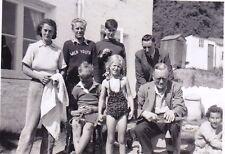 VINTAGE PHOTO MEN LADIES TEENAGE BOYS GIRL PIGTAILS SWIMSUIT HUTS NEFYN 1950'S