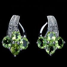 Sterling Silver 925 Genuine Natural Peridot Cluster Design Stud  Earrings