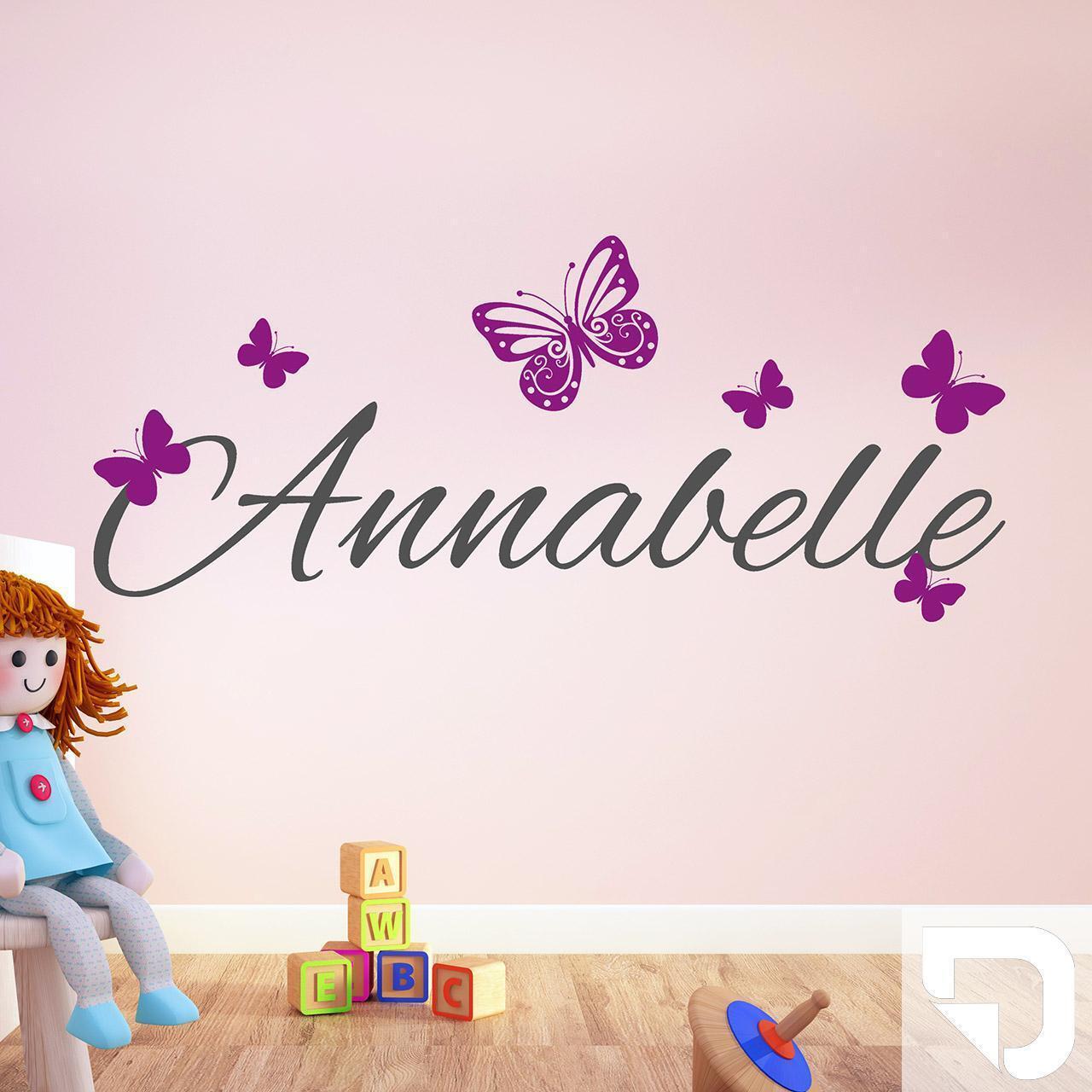 DESIGNSCAPE® Wandtattoo Name mit Schmetterlingen - eigener Name als Schriftzug