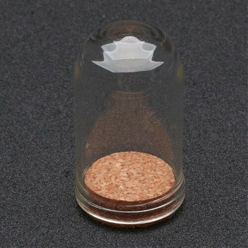 2 Glass 44.5x25mm Vial Domed Display Bottles with Cork. A1B