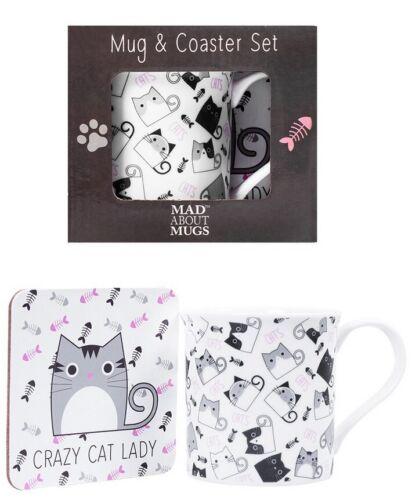 Crazy Cat Lady Drinking Mug /& Coaster Gift Set 9oz Bone China Tea Coffee Mug Cat