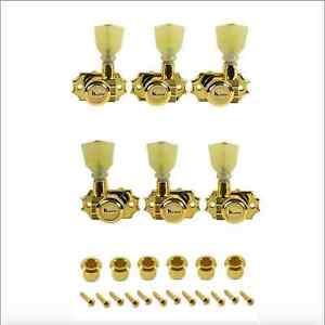 Mecaniques-Kluson-Revolution-Locking-3x3-Boutons-Tulipes-Pearl-pushIn-8-8mm-Gold