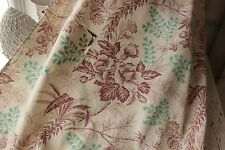 Antique French floral 19th century printed cotton white ground teal materiel old