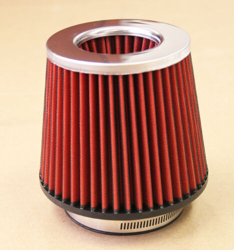 4/' INCH CHROME INLET HIGH FLOW SHORT RAM//COLD INTAKE ROUND CONE RED AIR FILTER