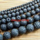 "Natural 4,6,8,10,12,14mm Black Rock Lava Round Gemstone Loose Beads 15""L"