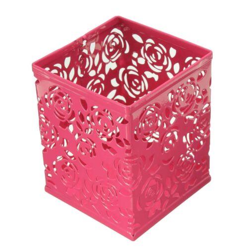 Pen Holder Metal Hollow Rose Flower Pattern Square rose red