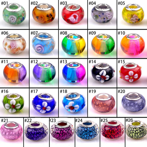 1PC Mixed Design Glass Round Loose Beads Big Hole Jewelry Accessories