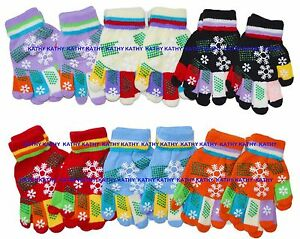 Kids-Children-Magic-Gloves-Multi-Colors-Snow-Snowflake-Winter-Xmas-12-Pairs-NY