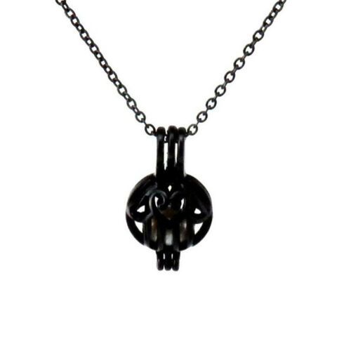 """H396  Black Stainless Women Necklace 18/"""" 25mm Heart hand Beads Cage Locket"""